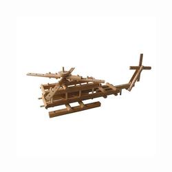 Hélicoptère en bois naturel à monter