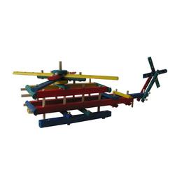 Hélicoptère en bois coloré à monter
