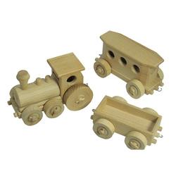Train de voyageurs en bois naturel