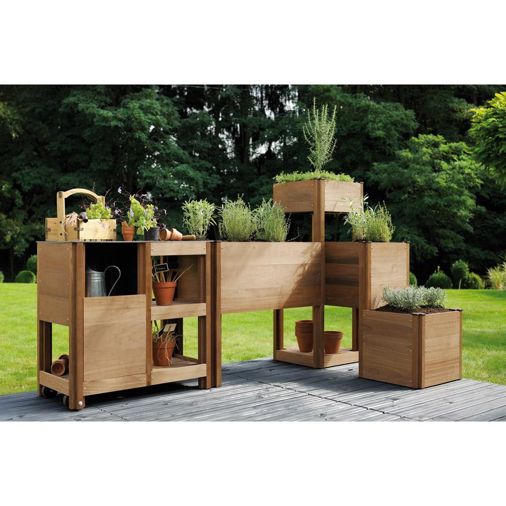 Article carr s potager en bois be b y o for Jardin potager bois