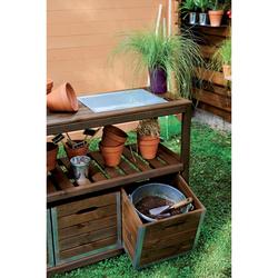 Table de préparation en bois avec bac