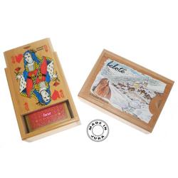 Boîte en bois Jeu de belote + jetons