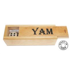 Jeu de dès Yam, boîte en bois