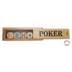 Jeu de dès poker, boîte en bois