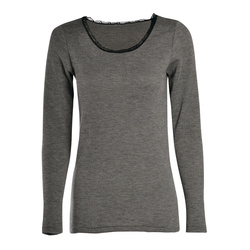 T-shirt manches longues, col rond, Femme