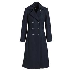 Manteau long femme en drap de laine -