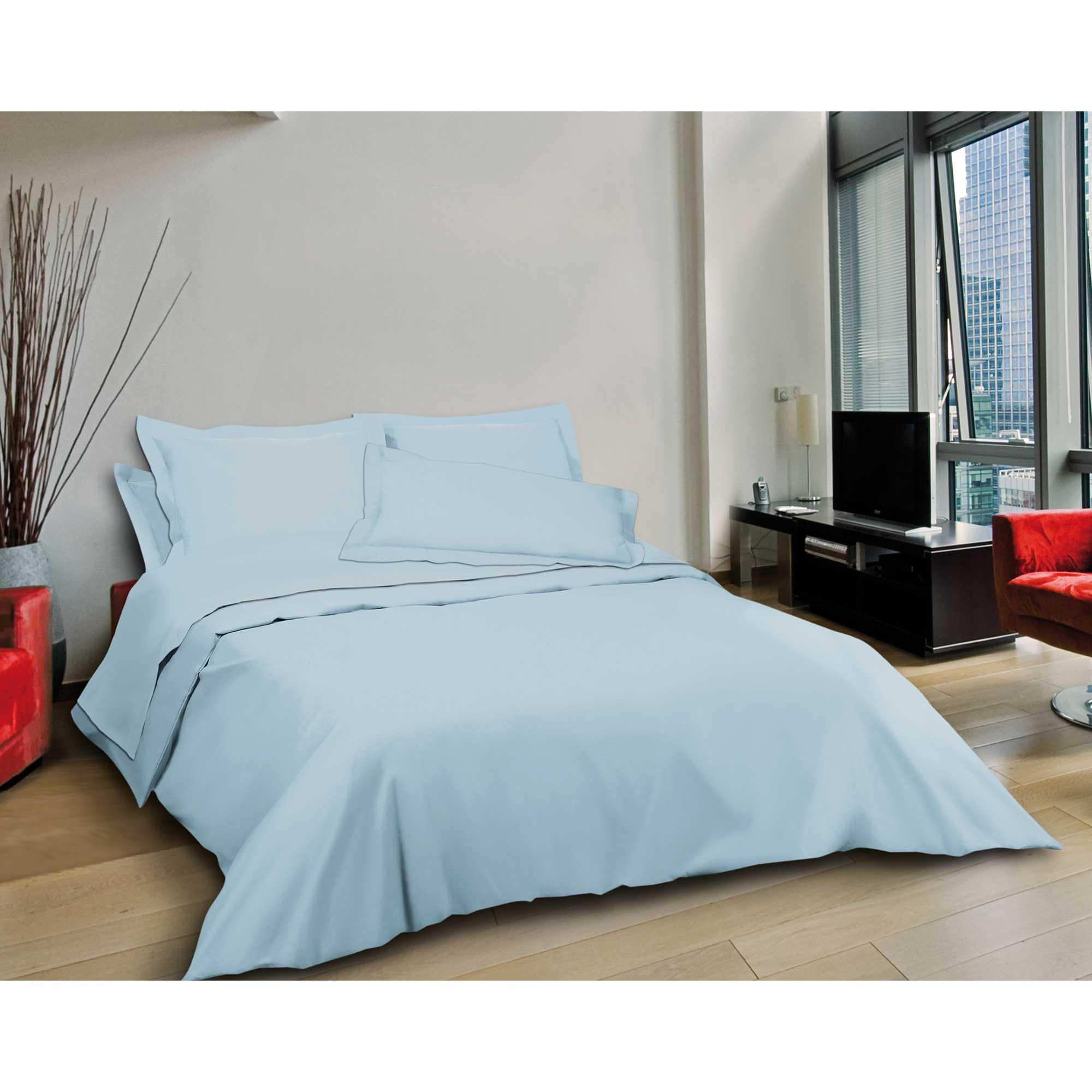 article linge de lit toile coton col pastel. Black Bedroom Furniture Sets. Home Design Ideas