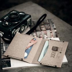 Porte-cartes double - cuir recyclé