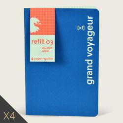Lot de 4 carnets RXL03 -pages à carreaux