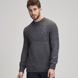 Pull homme col rond torsades -