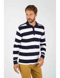 Polo homme larges rayures - coton côtes1x1 -